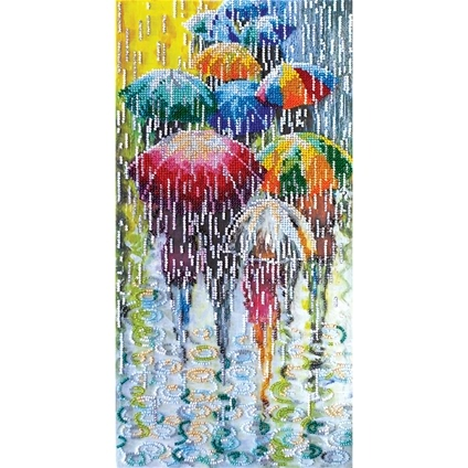 Cheerful Umbrellas Bead Embroidery