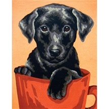 Puppy In Cup Tapestry Canvas