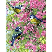 Blue Chickadees & Flowers Tapestry Canvas