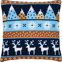 Reindeer & Christmas Trees Cushion
