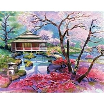 Pagoda & Cherry Blossoms Diamond Painting