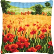 Poppy Field Needlepoint Cushion