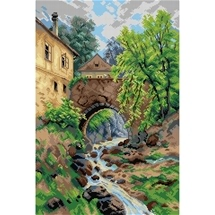 A Bridge Across Trattenbach Brook Tapestry Canvas