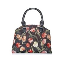 Black Tulips Tapestry Bags